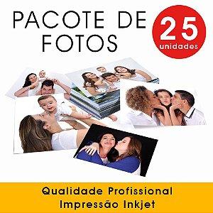 Pacote de 25 fotos 10x15 (sem borda) - Impressão Inkjet