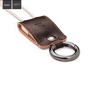 Chaveiro USB de Couro - Cabo USB de Dados e Carregador para Micro Usb ou Lightning Cable - Hoco Genuíno