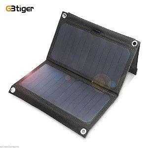Painel Solar Portátil Dobrável Gbtiger 14w Dual Usb 5v 2.4a