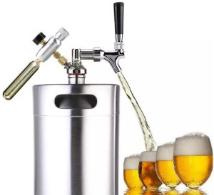 Chopeira Growler Inox (mini Keg) + Torneira + Regulador Pressão + Co2