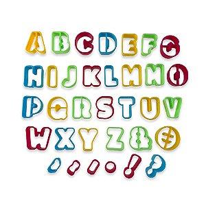 Jogo De Cortadores Letras Alfabeto Para Confeitaria Biscoito Pasta Americana