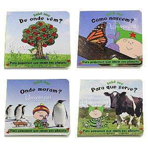Kit Livro Infantil Ecológico Educativo Coleção Completa Bebê Eco 4 Livros