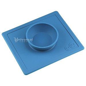 Happy Bowl Jogo Americano com Tigela Infantil 100% Silicone Azul