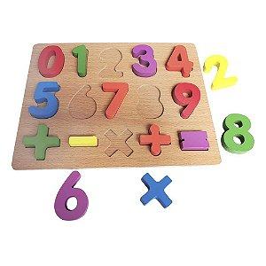 Brinquedo Didático Jogo Educativo Encaixe Números Sinais Matemáticos Aprenda Brincando Em Madeira