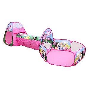 Barraca Infantil Com Túnel Dobrável Princesas 3 Em 1Toca Cabana Criança Diversão