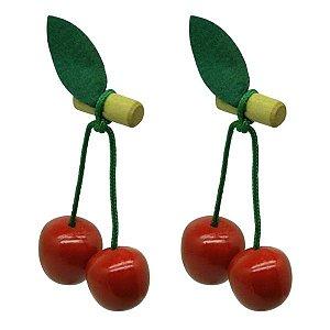 Kit Frutinhas: 2 Cerejas em Madeira Ecológica Brinquedo Infantil