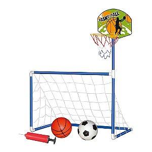 Kit Brinquedo 2 Em 1 Futebol Basquete Trave Com Rede Bola Tabela Cesta Aro Diversão Criança