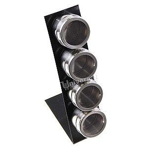 Porta Condimento Tempero Inox Magnético Imã 4 Potes + Suporte