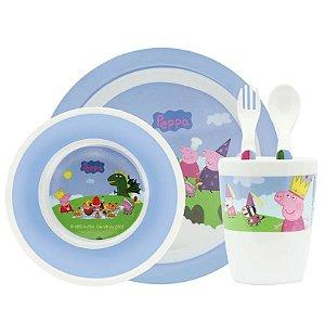 Kit de Refeição com Prato, Tigela, Copo e Talheres Peppa Pig