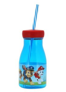 Garrafa Retrô Boy Patrulha Canina Copo Canudo Azul