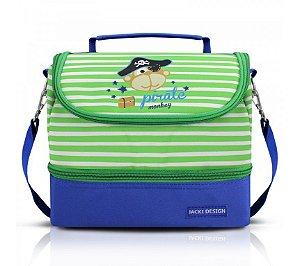 Lancheira Bolsa Térmica Infantil Macaquinho Pirata Jacki Design Azul