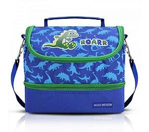 Lancheira Bolsa Térmica Infantil Dinossauro Roarr Jacki Design Azul