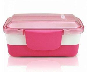 Pote Marmita Lancheira 2 Andares 950ml Plástico Rosa