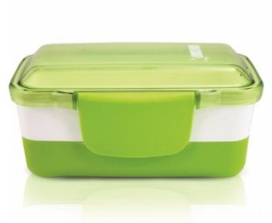 Pote Marmita Lancheira 2 Andares 950ml Plástico Verde