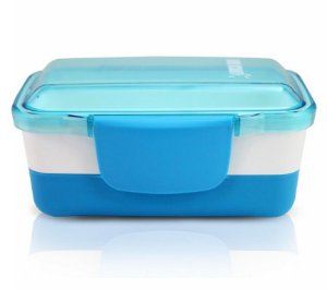 Pote Marmita Lancheira 2 Andares 950ml Plástico Azul