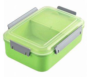 Pote Marmita Lancheira C/ 3 Compartimentos 1200ml Verde