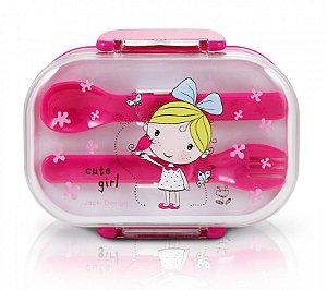 Pote Marmita Infantil 2 Andares C/ Talheres Pink Laço Azul