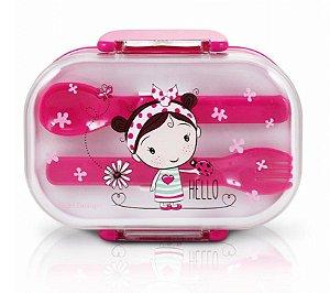 Pote Marmita Infantil 2 Andares C/ Talheres Pink Laço Bolinha