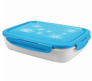 Pote Marmita Lancheira 1350ml C/ 4 Compartimentos Azul