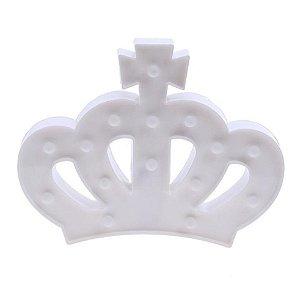 Luminária De Led Decorativa Coroa Branca 3d Decoração