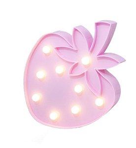 Luminária De Led Decorativa Morango Decoração Luminoso Rosa