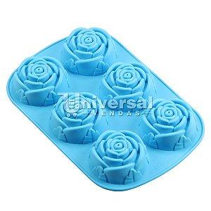 Forma De Silicone C/ 6 Cavidades De Flor Rosa