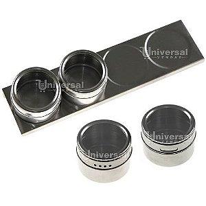 Porta Condimento Tempero Magnético em Inox: 1 Base + 4 Potes