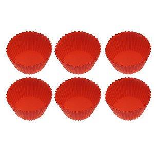 """Formas """"Gigante"""" de Silicone c/ 6 Unidades p/ Cupcake"""