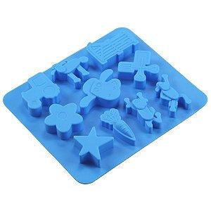 Forma de Silicone c/ 10 Cavidades p/ Gelatina