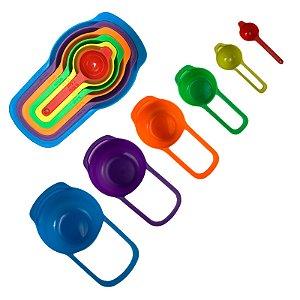 Kit Medidor De Cozinha C/ 6 Pçs Colheres Coloridas Medidores