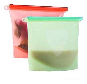 Saco Porta Alimentos Reutilizável Silicone Bpa Free - Kit Com 2 Unidades
