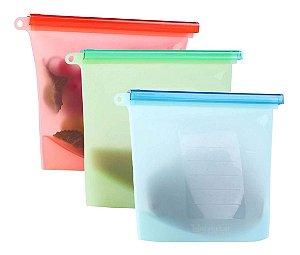 Saco Porta Alimentos Reutilizável Silicone Bpa Free - Kit Com 3 Unidades