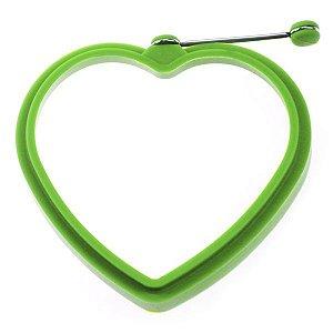 Forma Molde Coração De Silicone c/ Puxador p/ Ovo, Tapioca, Panqueca