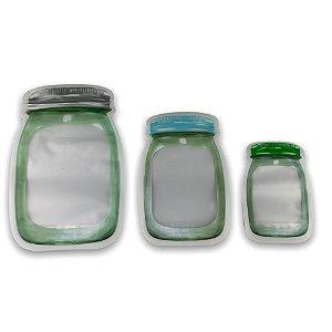 Kit 3 Saco Porta Alimentos Temperos Reutilizável Com Lacre
