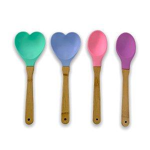 Kit 4 Utensílios De Cozinha Silicone Colher Espátula Coração