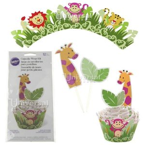 Kit para decorar Cupcake Wilton 12 Saias (Wrap) e 24 Palitos Jungle