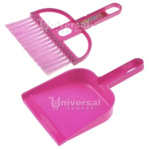Jogo para Limpeza Mini Pá e Mini Vassoura Plástico