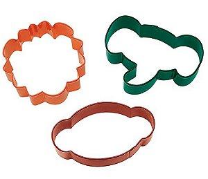 Cortador de Inox p/ Biscoitos Wilton Animais: Macaco, Leão e Efefante (Kit com 3 Unids)