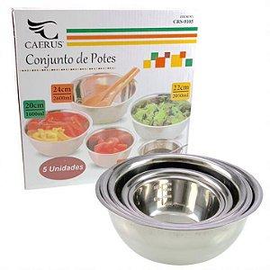 Conjunto De Tigelas Bowl C/ 5 Peças Inox Pote Saladeira Frutas Etc