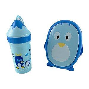 Kit Refeição Infantil Pinguim Pote Com Divisória Copo Talheres