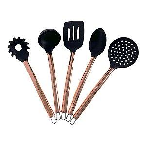 Kit 5 Utensílios Para Cozinha Espátula Colher Concha Pegador Escumadeira