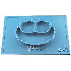 Happy Mat Jogo Americano com Prato Infantil 100% Silicone Azul 38 x 25cm