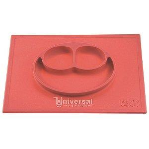 Happy Mat Jogo Americano com Prato Infantil 100% Silicone Coral 38 x 25cm