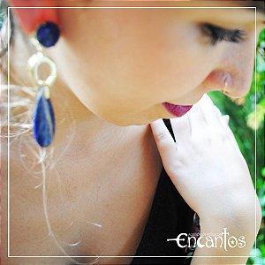 Brinco duplo  - Lapis Lazuli