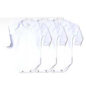 Kit de 3 Bodies Bebê Manga Longa Liso Branco