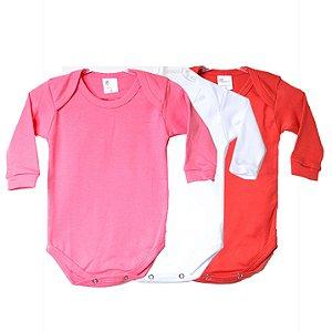 Kit de 3 Bodies Bebê Manga Longa Liso Rosa/Vermelho/Branco