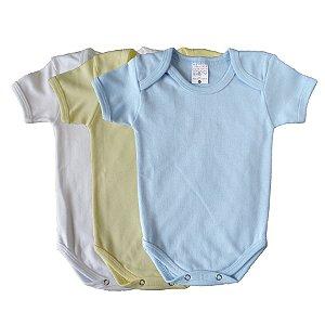 Kit de 3 Bodies Bebê Meia Manga Liso Azul Claro/Branco/Amarelo