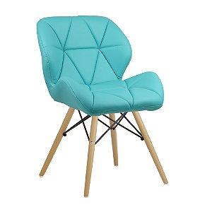 Cadeira Confort Azul Tiffany Wood em PU