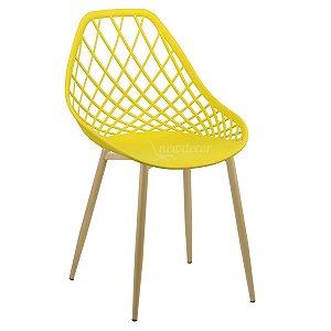 Cadeira Marine Amarela Wood em PP