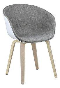 Cadeira Elegance Branco/Nude Wood em tecido